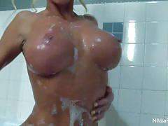 Nikita von james soaping her precious funbags