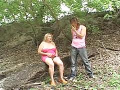 Hairy milf fucked hard in the woods