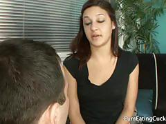 Nikki chase and her cuckold husband share a cock.