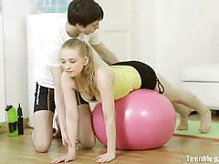 Gym trainer slams a cute teen's pussy