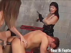 Dommes turn slaves in bisexuals with cock and toys