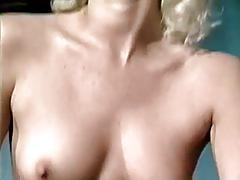Vintage blonde sucks and rides a black cock