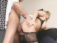 Blonde with massive natural tits gets doggy styled