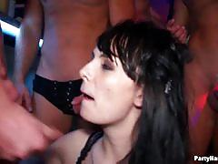 Cumshots raining at the party full of drunk babes