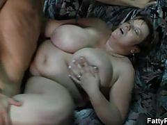 Young boy fucks busty granny