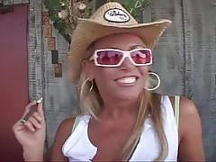 Horny blonde cowgirl drilled hard by two hard cocks