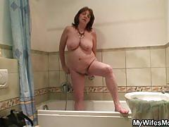 Granny with huge tits rides her son-in-law
