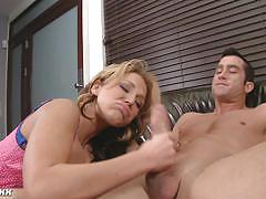 Nikki sexx with massive melons gives head.