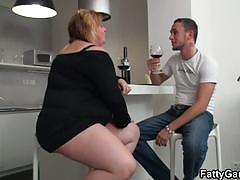 Horny bbw has a drink and gets doggy styled