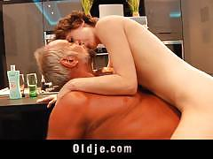 Lily labeau sits on old man's cock