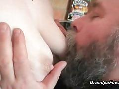 Redhead chick pussy licked by older man