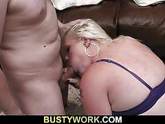 Busty blonde fucked at work