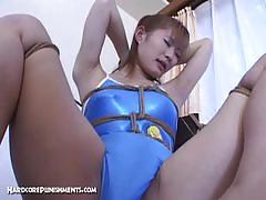 Japanese babe in swimsuit gets nice bondage fun.