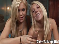Two dominant blondes sucking a cock