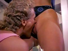 Vintage blonde slut gets banged hard in the gym