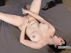 Vivian lavey pinches her pierced nipples and toys