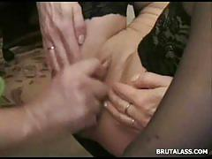 Hot brunette in stockings gets her ass fisted hard