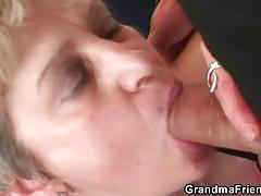 Mature blonde gets banged by two horny dudes