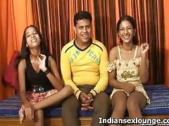 Two indian sluts suck a guy's cock and balls