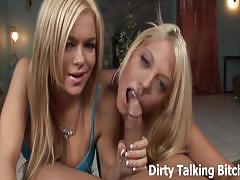 Two blonde dominatrices jerking off slave's cock