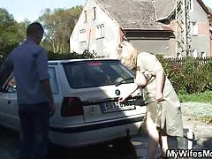 Mature blonde gets banged hard outdoors