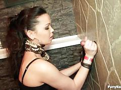 Horny chicks at the party blowjob fun in gloryhole