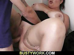 Dumb bbw fucks her boss to keep her job