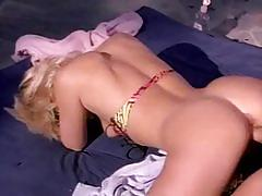 Vintage blonde gets banged by the poolside