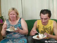 Bbw rides a young guy's cock for his birthday