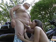 Nataly von gives in to grandpa outdoors