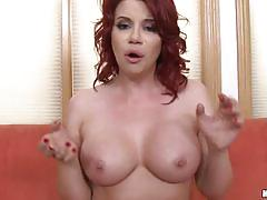 Gorgeous redhead sarah rides on the black dick.