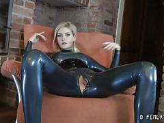 Skinny blonde slut in latex