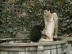Hairy vintage brunette gets banged very hard