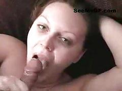 Brunette girlfriend gets a facial after blowjob
