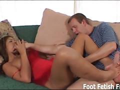 brunette, stockings, mistress, footjob, pov, femdom, fishnets, foot fetish