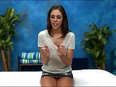 Brunette teen belle gets massaged and fingered