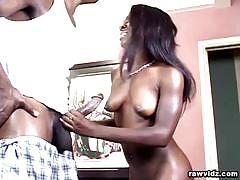 Ebony slut marie luv sucks and rides a hard cock