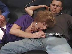 Nasty cum starving redhead granny in stockings crazy for huge cocks
