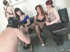 Ella kross, cleo, kitty bliss playing with a slave