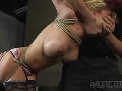 cherie deville, blonde, milf, bdsm, threesome, slave, humiliation, mmf, dungeon