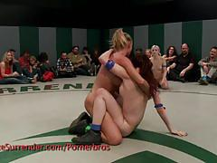 Sexy lesbian wrestlers are on fire today