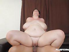 Greasy bbw resting pussy on hard dick