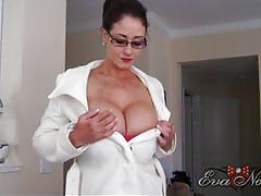 Bosomy eva notty undressing at the office
