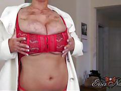 eva notty, brunette, big tits, busty, solo, posing, teasing, striptease