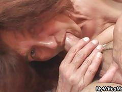 Horny granny fucking her daughter's lover