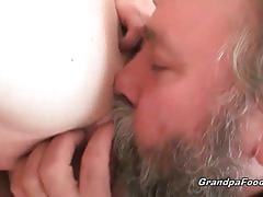 Babe with red hair rides an old man's dong