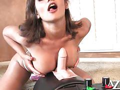 big tits, masturbation, toys, solo, big boobs, fake tits, sybian, striptease