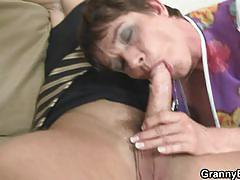 Sexy granny grabs that young cock and for hot fuck
