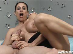 brunette, big tits, cumshot, milf, busty, handjob, mom, big boobs, jerking, huge tits, black hair, fake tits, stepmom