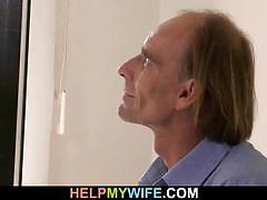 Old guy lets her wife getting licked by a bald guy